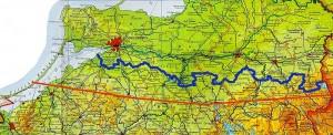 Przebieg linii granicznej z Obwodem Kaliningradzkim ( do 1946 r. i obecny), źródło wmtmk.pl