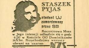Ulotka  rocznicowa poświęcona Stanisławowi Pyjasowi, źródło Europejskie Centrum Solidarności
