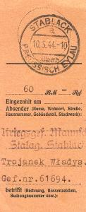Stalag IA Stablack, wysłane 60 RM przez Wł. trojanka, 10.05.1944, od Barbary Trojanek ze Zbąszynia, popr.