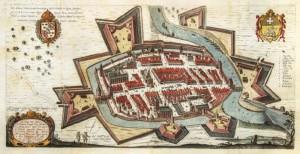 Braniewo 1635 kolorowana rycina na podstawie miedziorytu P.Stertzella i K. Goetkego, źródło fotopolska. eu