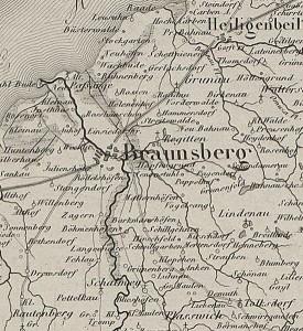 Braniewo na mapie z 1859 r, żr. Internetowa Encyklopedia Warmii i Mazur